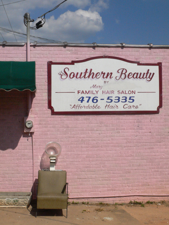 "Came across this ""South of Tarnation"" oldie today. I'm thinking there are some things you just don't need a bargain on – like motorcycle helmets, brain surgery, and maybe a hairdo.             — Dorn"