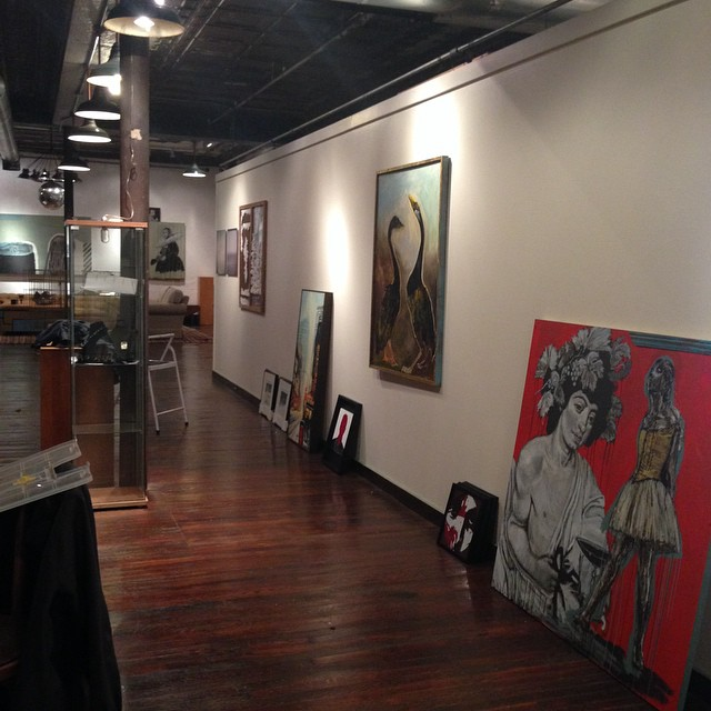 Show hanging underway. What an amazing group of human beings. #artbombstudios #openstudios