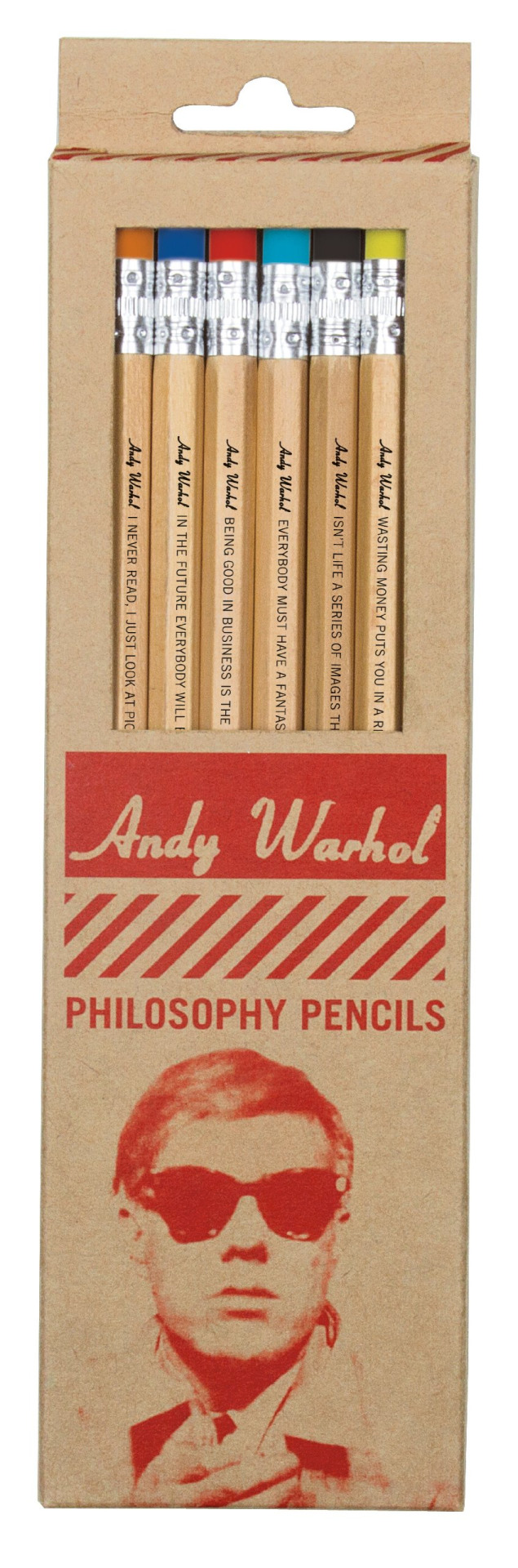 explore-blog :      Andy Warhol   philosophy pencil set , enough said. Pair with  Warhol's biography as a graphic novel .     MUST HAVE.