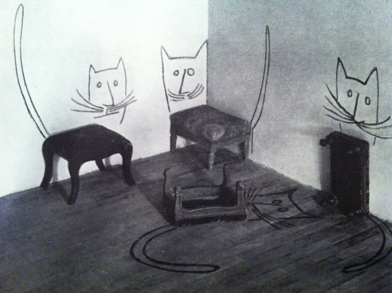 elzoute: Stool Cats from The best of flair - Saul Steinberg