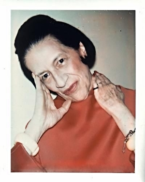 Diana Vreeland, with her signature bold blush 'stripes'