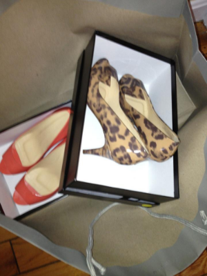 Orange and animal print patent peep toes
