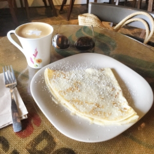 My latte and butter & sugar crepe