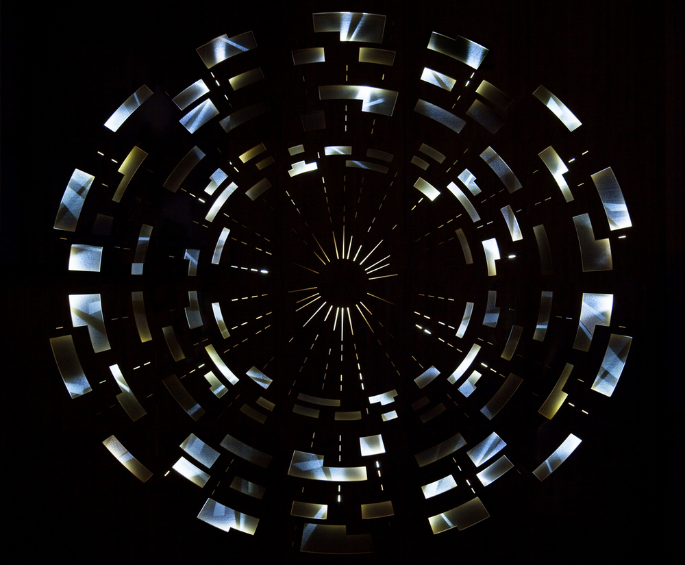 Ilona Rista:  COLLISION , 2011, CERN, the European Organization for Nuclear Research, in Geneva, Switzerland. Birch, LED-light, mirrors