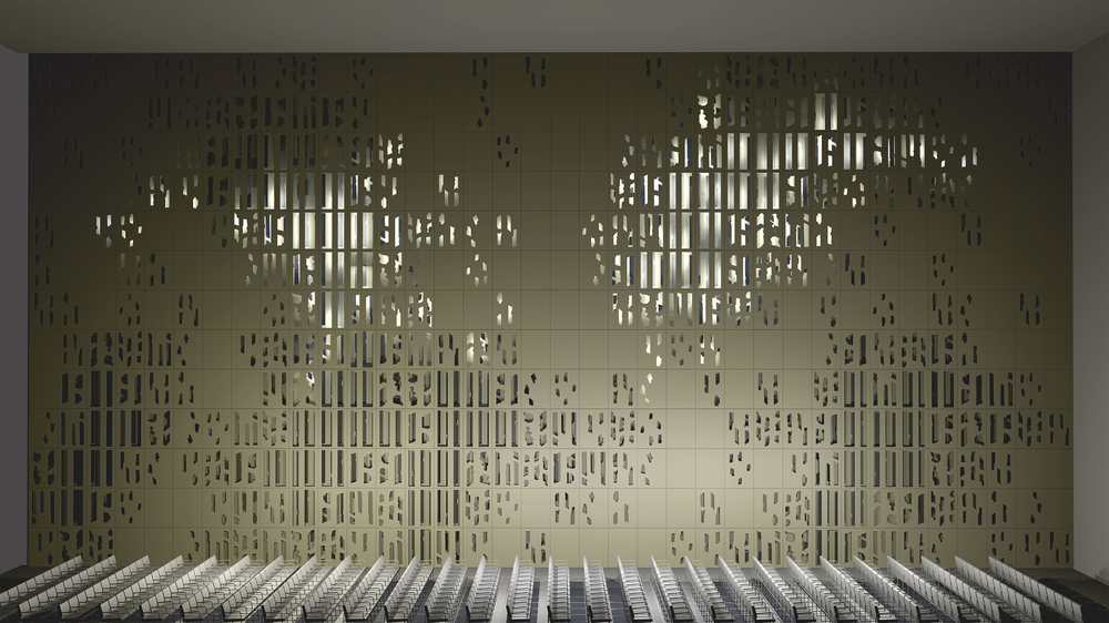Ilona Rista:  Pine Forest Wall , 2013. 3D modeling was used to assess the characteristics of the full-scale concert hall as well as to examine its structure and lighting.