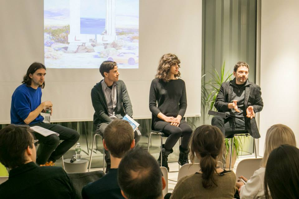 The participants of the Ultimate Exit panel discussion were futurist and writer Geoff Manaugh, artist Andrea Crespo and Ed Keller, associate dean of distributed learning and technology at Parsons the New School for Design. Photo: Cameron Blaylock