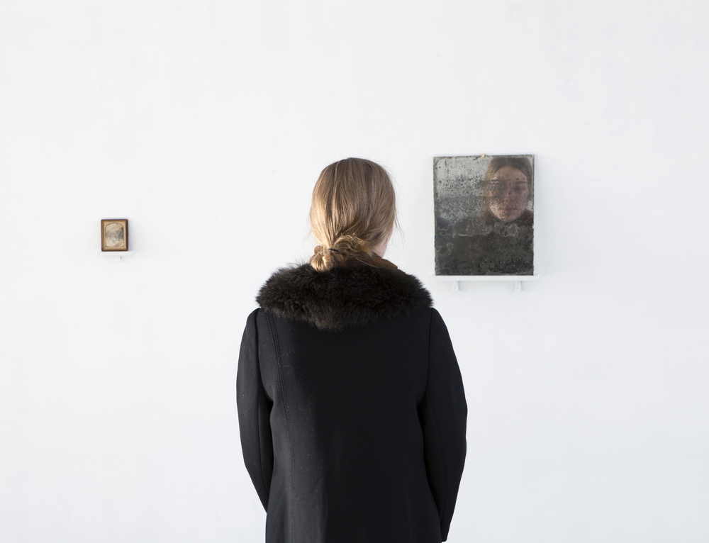 Tanja Koljonen, What We See We Remember I (2015), Daguerrotype, late 1800's, United States, 9,7 x 8cm, What We See We Remember II (2015), mirror 33 x 27cm