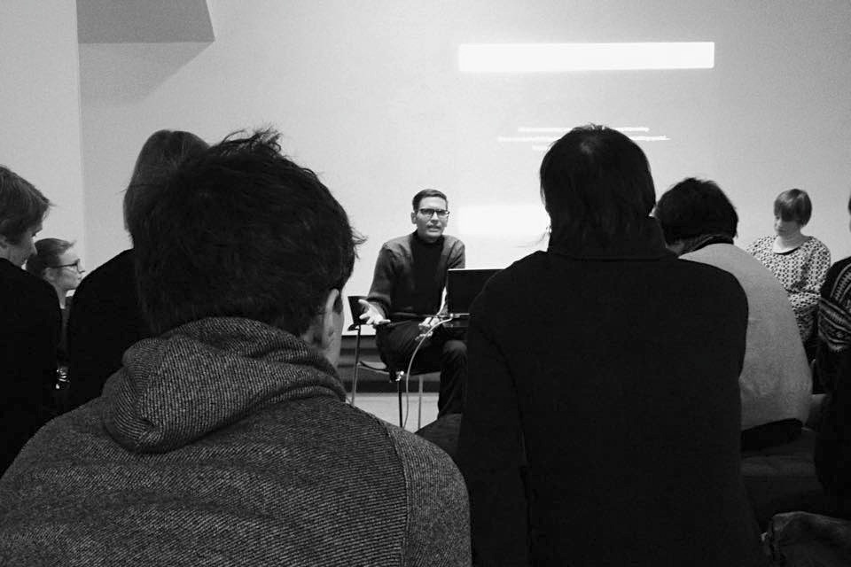 Boshko Boskovic presenting the Interpreting the Frame exhibition as part of Diving Through the Archive: A panel on artistic work with archive material at the Finnish Museum of Photography on January 28, 2015.