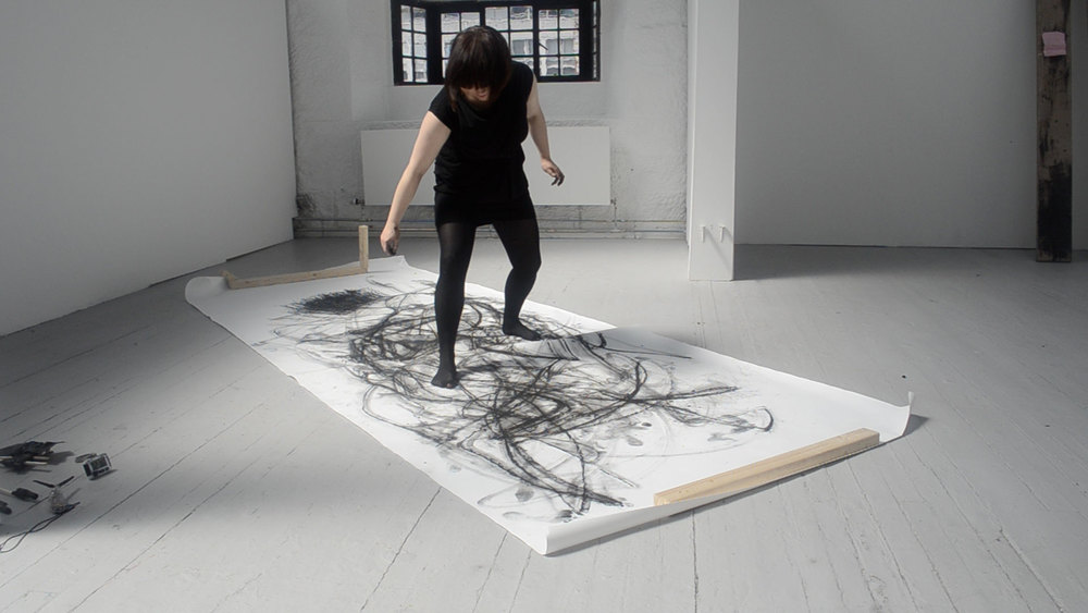 Elina Aho, from series Performative Drawings, still image from moving image, 2012
