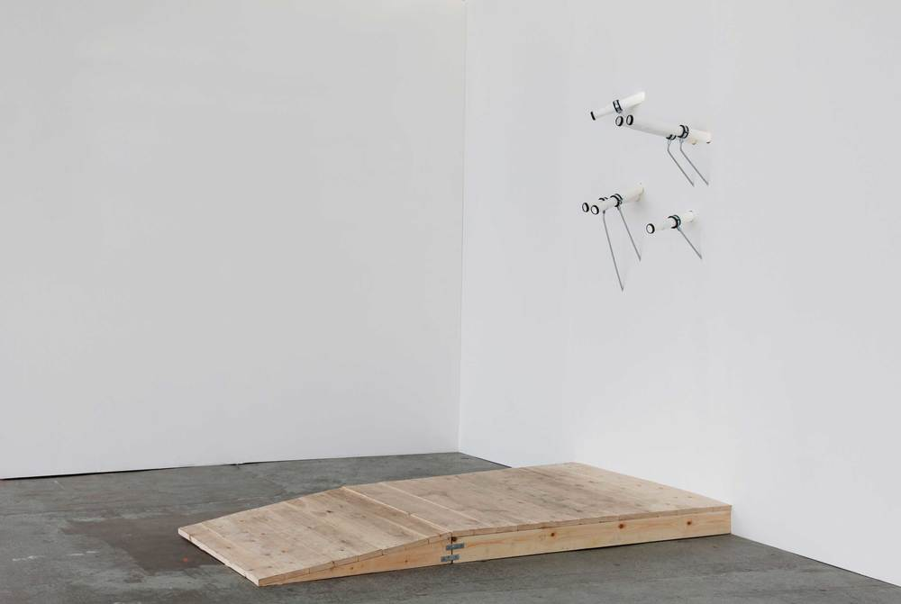 Minna Pöllänen: Points of View, 2014, wood, waste pipe, washer seals, threaded rod, fixings