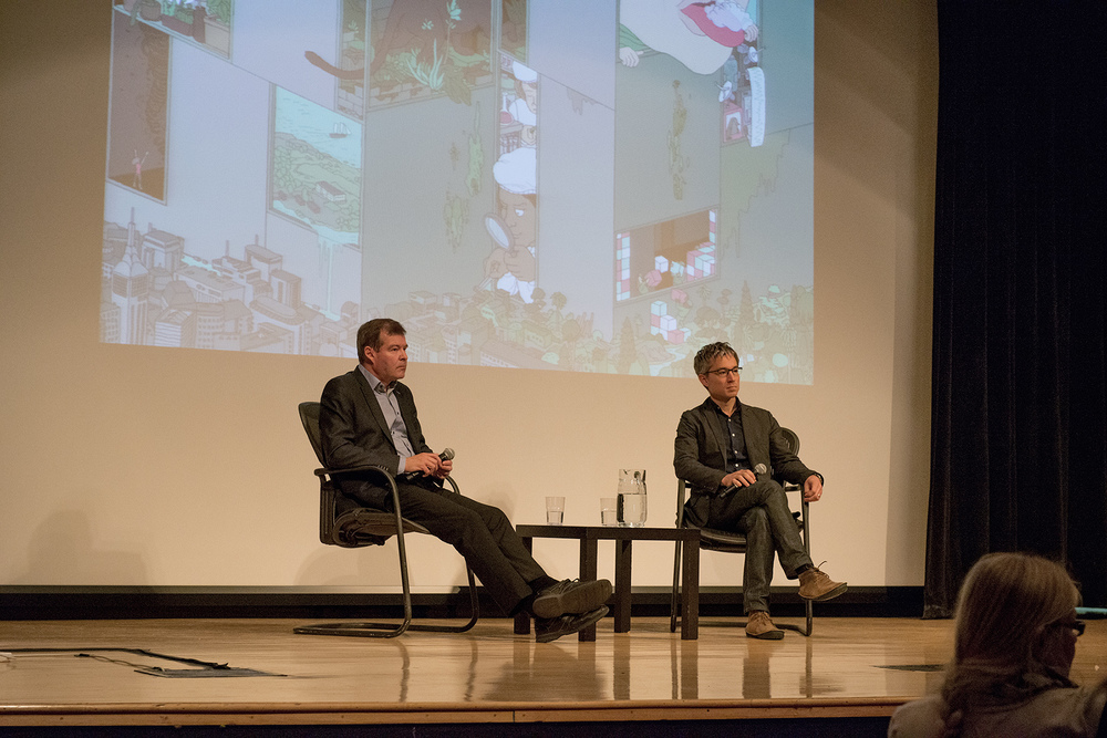 Jari Niemelä and Timon McPhearson in discussion as part the Urban Nature Symposium in October 2015.