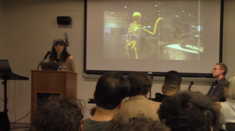 Beka Economopoulos of the artist group Not An Alternative giving presentation as part of the Post Fossil Fuels symposium in November 2015.
