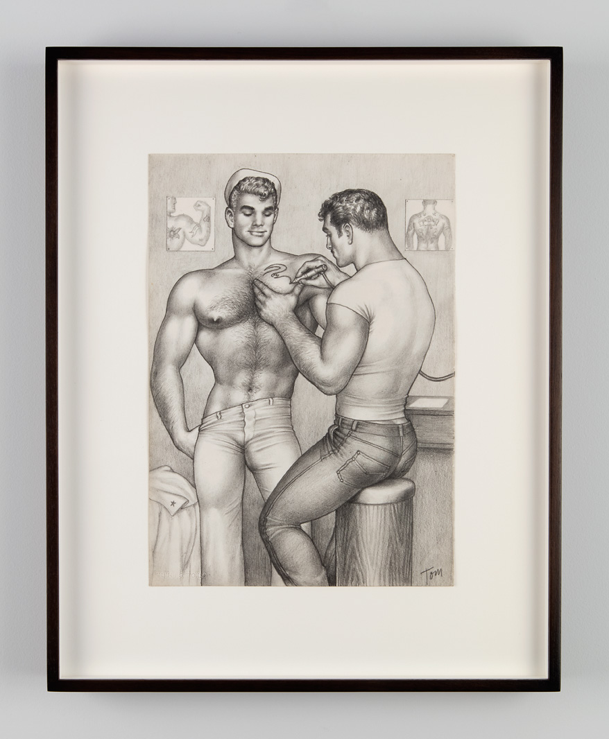 Untitled, 1962. Graphite on paper. Tom of Finland Foundation, Permanent Collection. From Tom of Finland: The Pleasure of Play, Artists Space, 2015. Photo © Jean Vong.