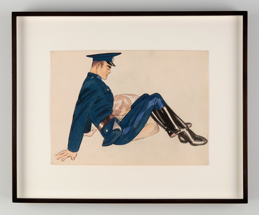 Untitled, 1947. Gouache on paper. Tom of Finland Foundation, Permanent Collection. From Tom of Finland: The Pleasure of Play, Artists Space, 2015. Photo © Jean Vong.