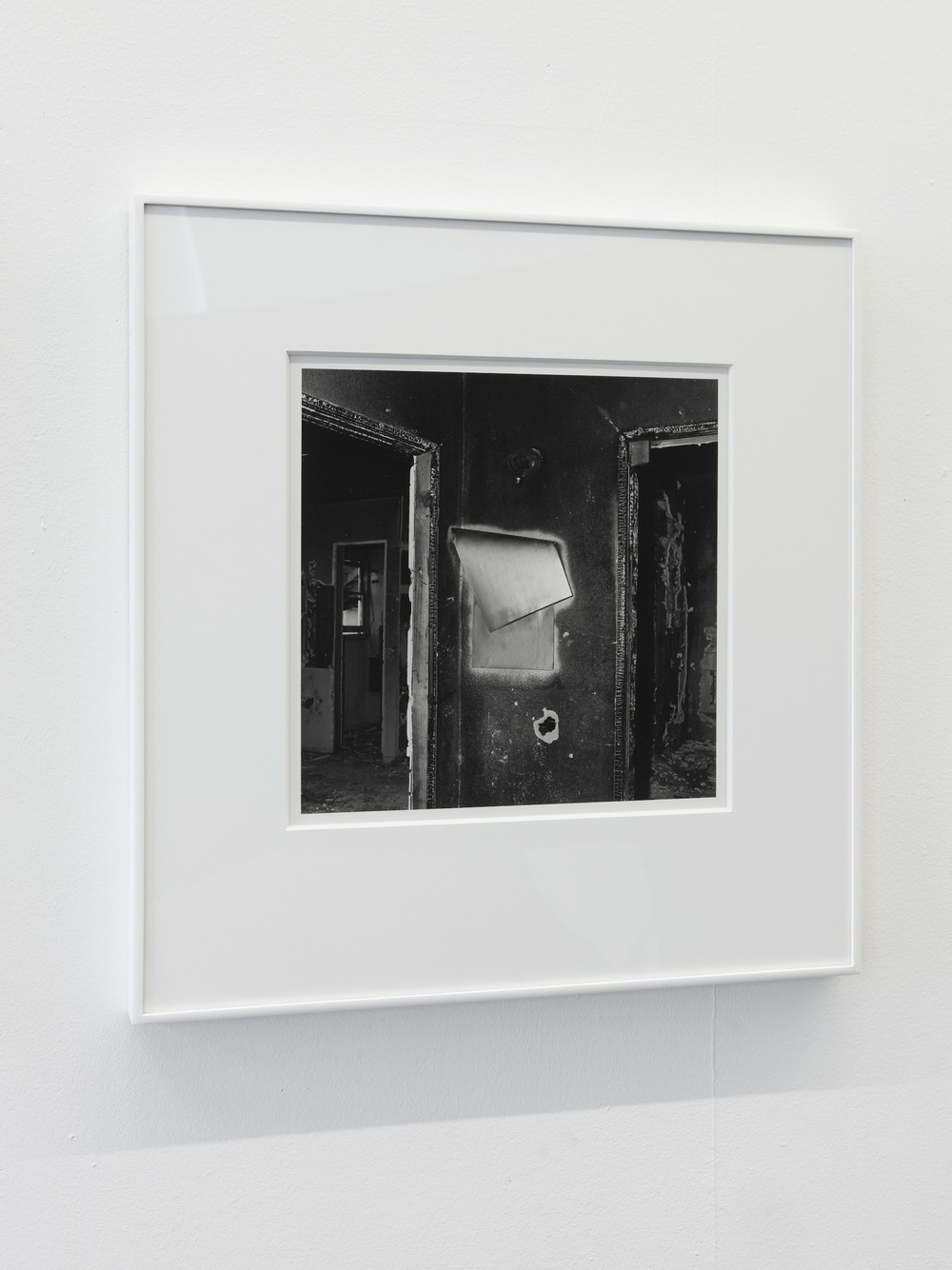 John Divola, from the series Vandalism, 1973-73. Archivally processed B&W photograph, 14 x 14 inches. Courtesy of the artist, Gallery Luisotti Los Angeles and Laura Bartlett Gallery London.