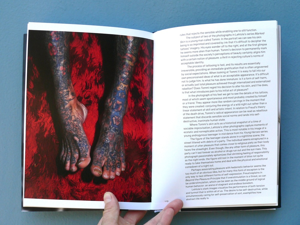 Left page: Jouko Lehtola, Tommi, 1999, from the series Marked Skin. Courtesy Jouko Lehtola Foundation. Right page: excerpt from Reba Maybury's article The Tension and Turmoil of Jouko Lehtola, 2016. Courtesy the writer. Beyond the Pleasure Principle publication by FCINY.