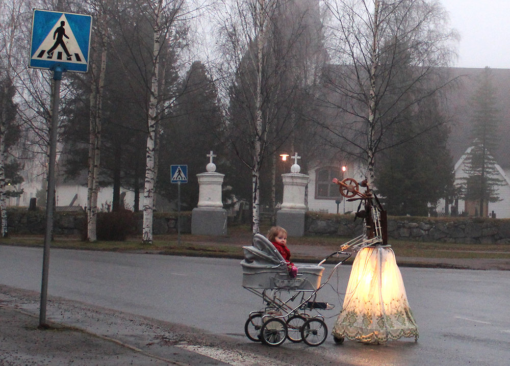 Pekka and Teija Isorättyä, Vintage Nanny, 2012. Electro-mechanical sculpture, stroller, spinning wheel, car electronics, hand drill, metal, 180 x 200 x 50 cm.
