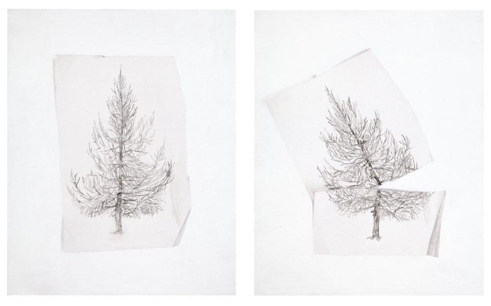 Päivi Takala, Treecut, 2014. 2x40x32 cm, oil on canvas. Courtesy the artist