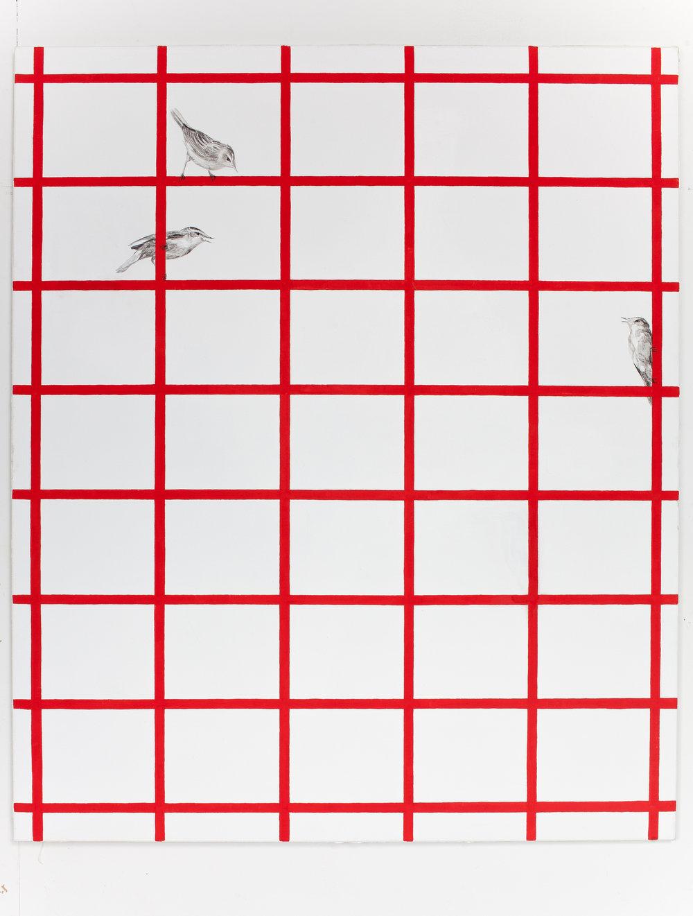 Päivi Takala, Birds on grid, 2016.120x100 cm, oil on canvas. Courtesy the artist