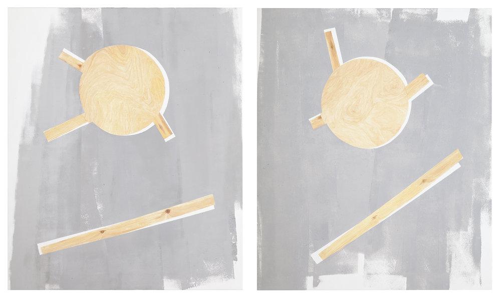 Päivi Takala, Concrete and wood on canvas, 2014.2x120x100 cm, oil on canvas. Courtesy the artist