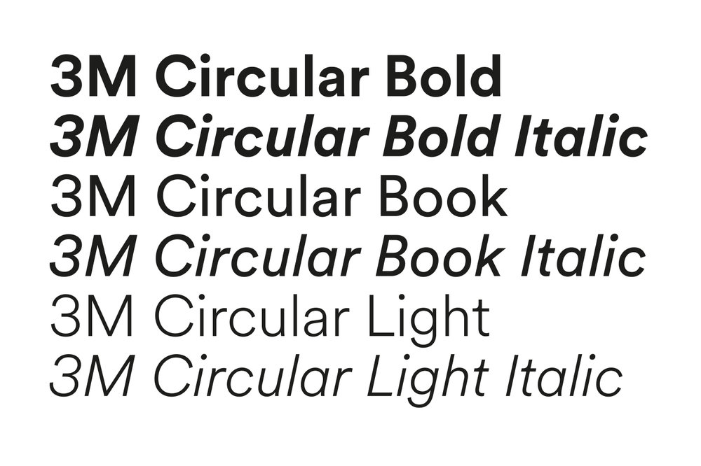 3M visual identity, customized typeface. Courtesy Wolff Olins