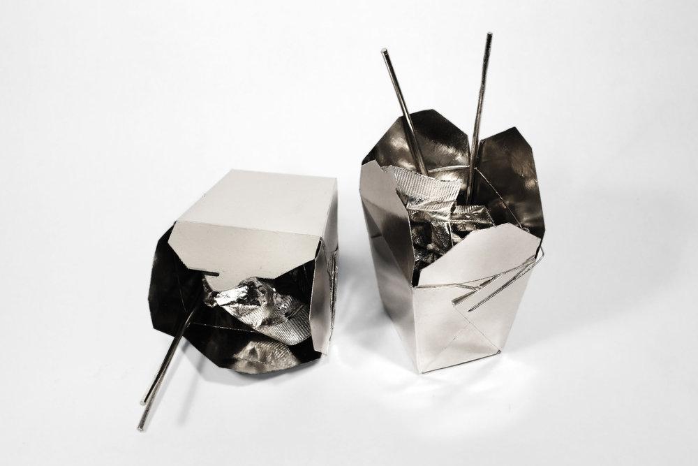 Liisa Lounila,  Sunday Morning , 2012. Palladium on Chinese take-away set, paper and resin