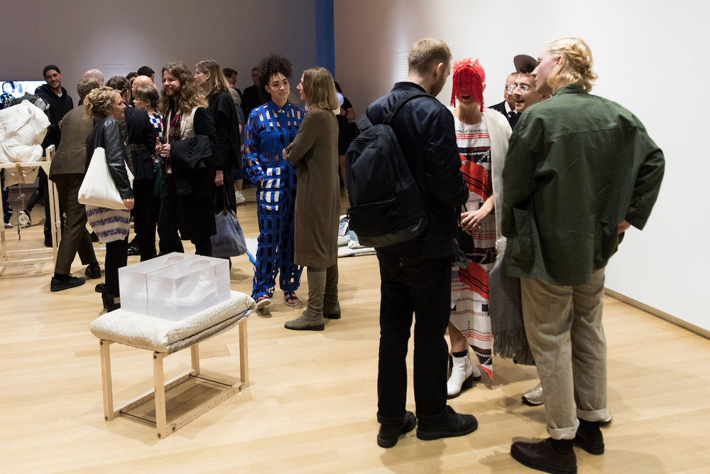 Opening guests of  fashion after Fashion  exhibition gathered around the sculptures of ensæmble's  INSIDE  installation at the Museum of Arts and Design on April 26, 2017. Additionally, ensæmble created a satellite installation that was on view at the Samuji Store in Nolita during the first weeks of the exhibition's opening hours.