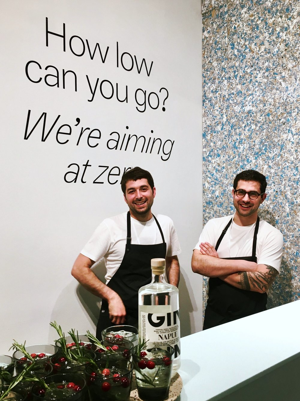Chefs Albert Franch Sunyer and Luka Balac from Restaurant Nolla, ready to taste Napue Gin at the opening of Zero Waste Bistro. Image: FCINY.