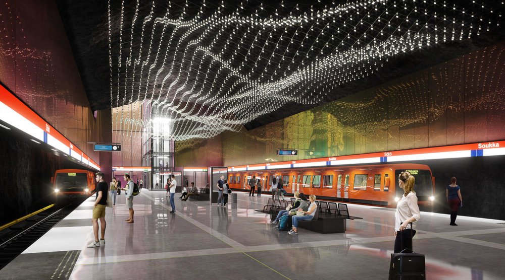 Interior plan of the West Metro Extension, Soukka Metro Station, Espoo, ALA Architects.