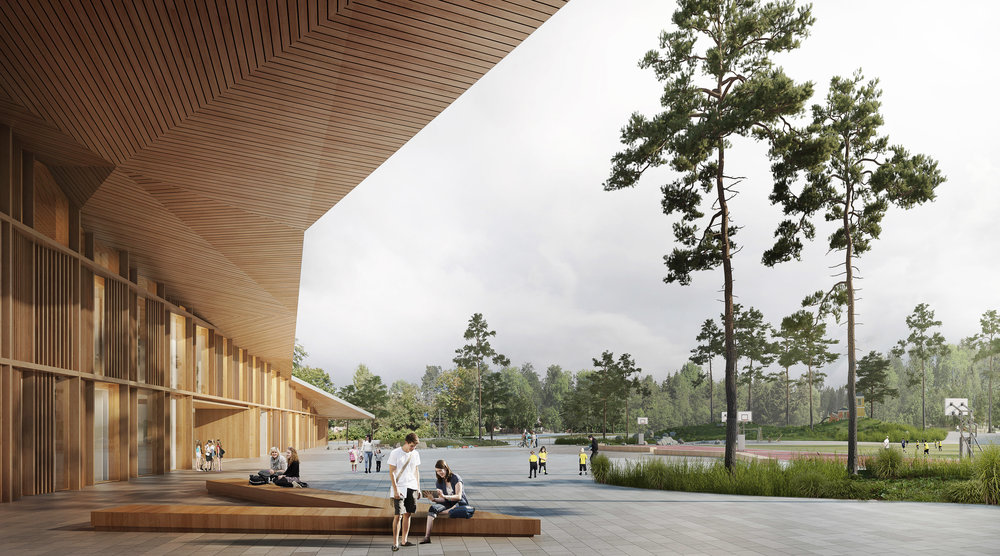 Plan for the Finnish-Russian School, Helsinki design competition in 2018, which architect office ALA Oy received a honorary mention for.