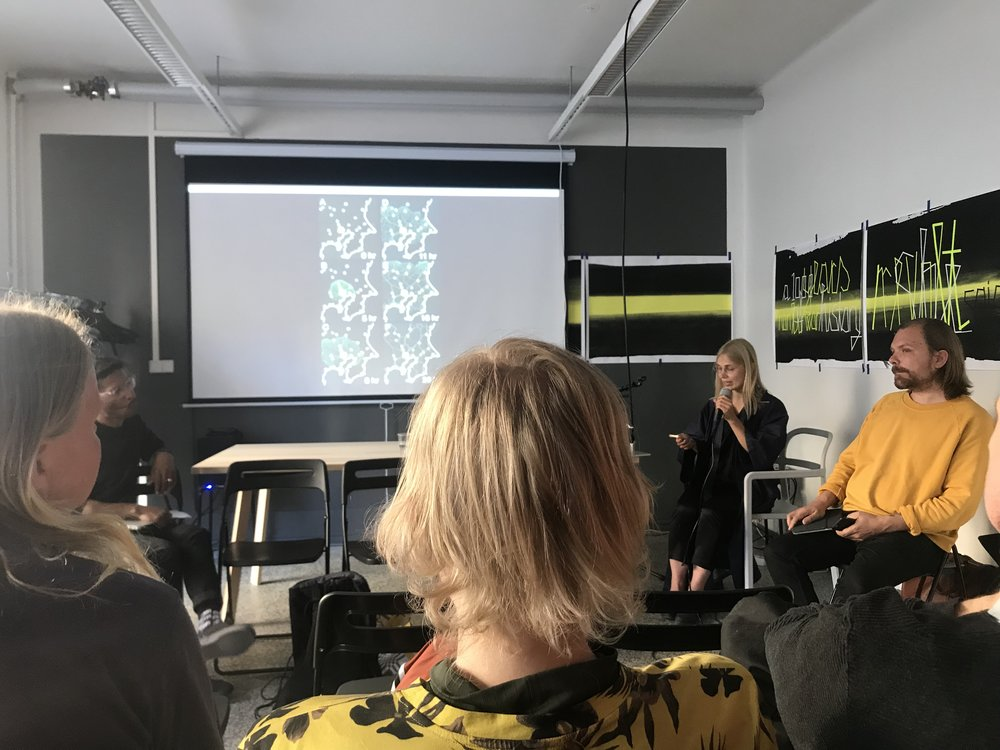 Artist Jenna Sutela discussed her recent projects as part of the  Alternative AI' s event, with MOBIUS Fellows Jussi Parikka and Shannon Mattern at the PUBLICS in Helsinki in May 2018.