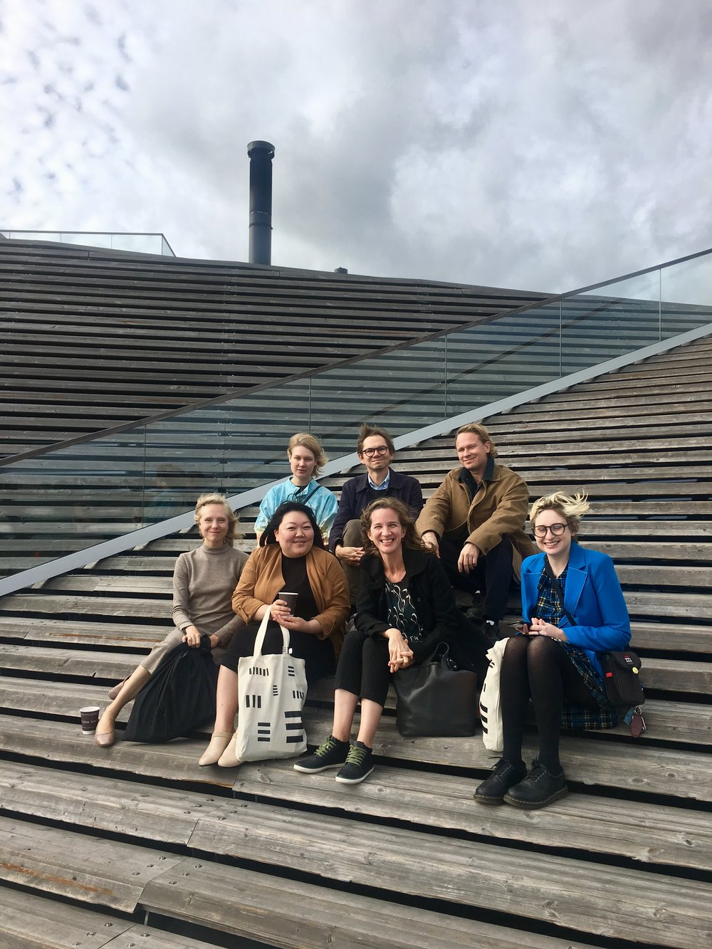 Participants of  what we write when we write about design  at Löyly Helsinki with critic and curator Daniel Golling from Stockholm, and mentor Katja Lindroos. Top row from left tor right: Eeva Rönkä, Golling, Ville Tikka. Bottom row: Tiffany Lambert, Aileen Kwun, Lindroos, Kate Wagner. (Hannu Pöppönen was busy elsewhwere.)