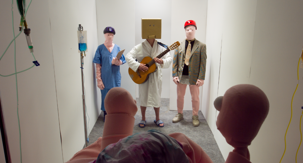 Erkka Nissinen and Nathaniel Mellors,  The Aalto Natives , Pavilion of Finland at the 57th International Art Exhibition – La Biennale di Venezia, video still, 2017.