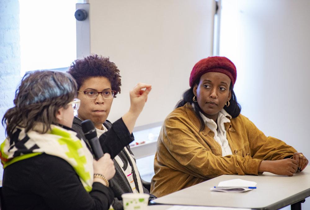 Greta Byrum, Toisha Tucker and Salome Asega presented the Metropolitan New York Library Council's Privacy in Public Art project. Photo: Aidan Smith.