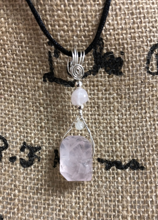 Item #11:  Rose Quartz with Morganite Pendant