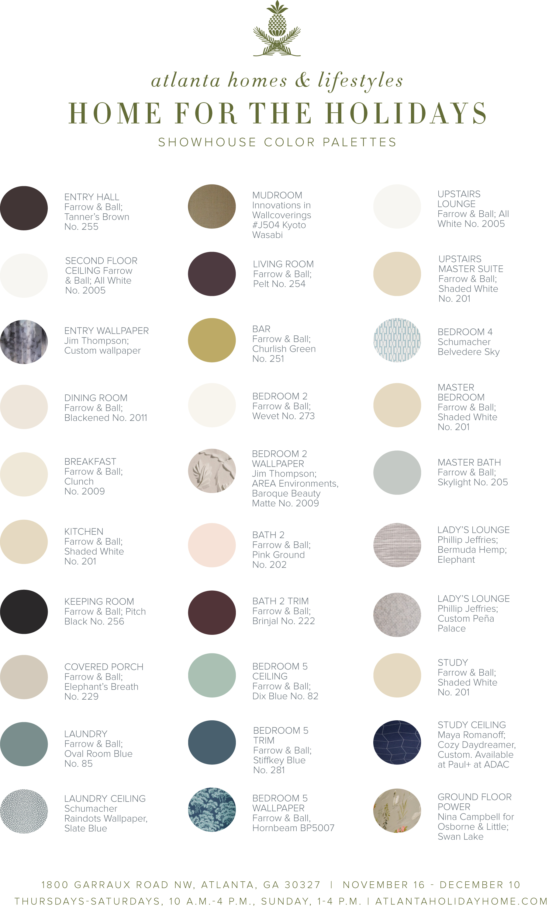 PAINT COLORS used for home for the holidays Atlanta showhouse 2017