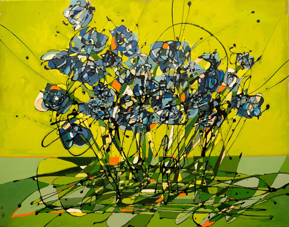 "Hays Blinckmann,I Never Promised You A Rose Garden, 22"" x 28"", oil, enamel on canvas"