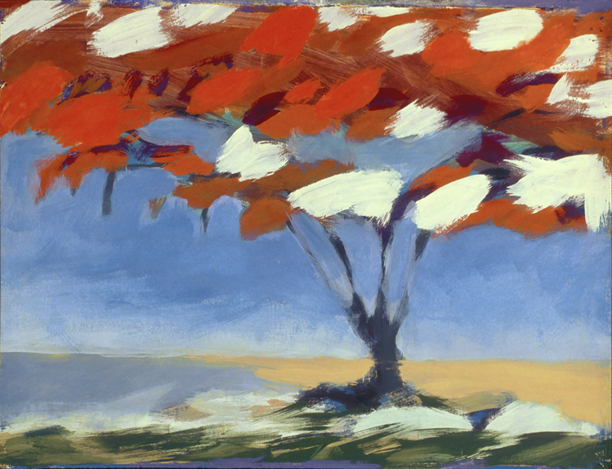 Flame Tree, acrylic on paper by Philip Ross Munro