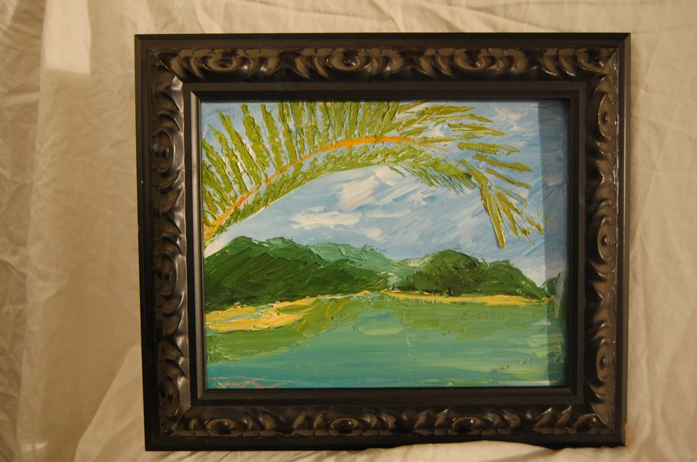 Malaysia  Palette knife Oil on canvas  8x10  Black Frame
