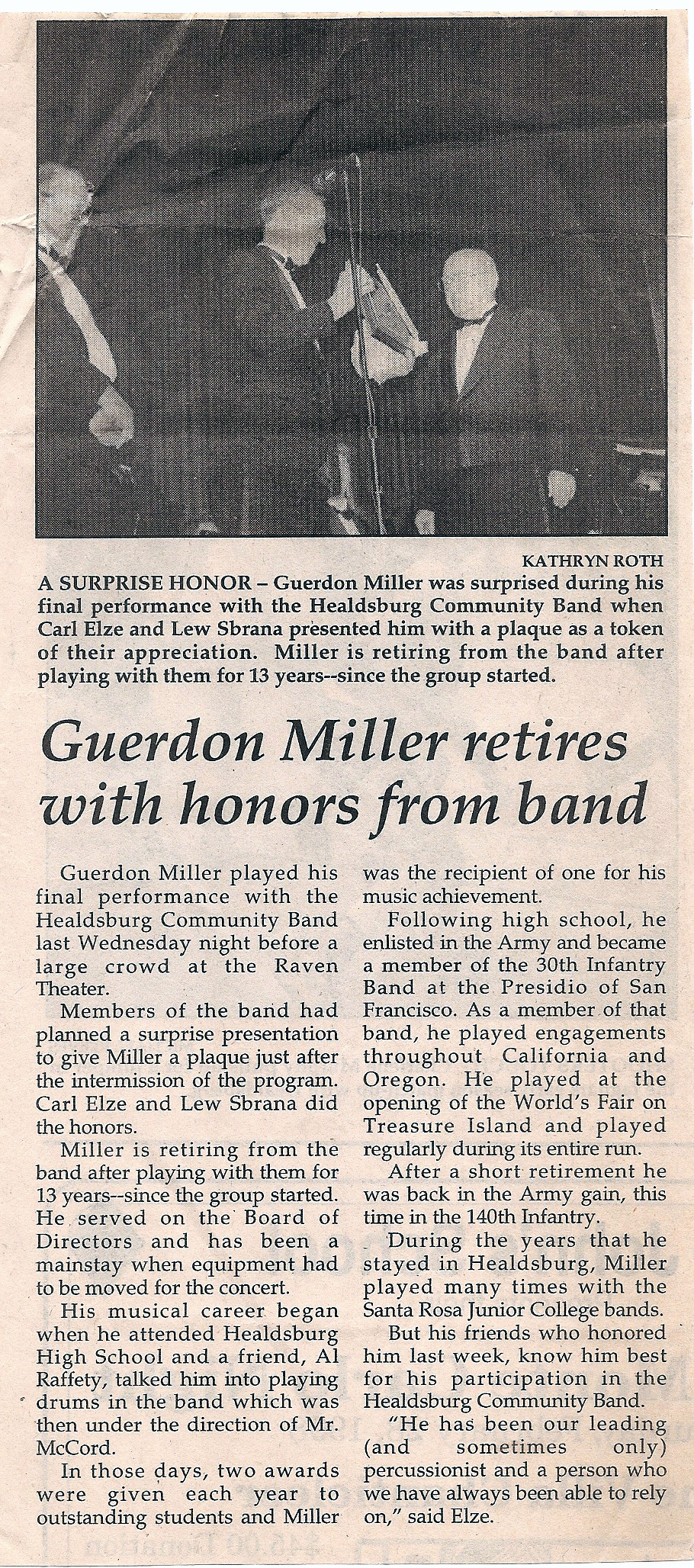 Guerdon Miller retires with honors from band