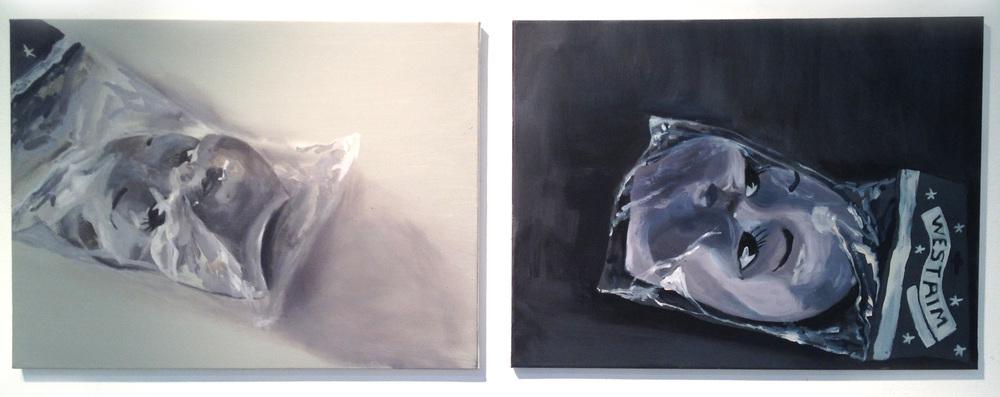 Doll Face.  Oil and acrylic on canvas, 18x24'' each panel, 2014.