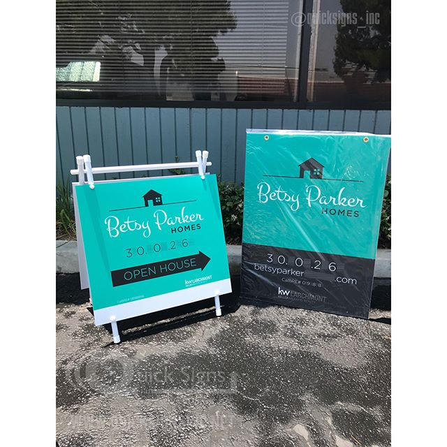 "Friday is our favorite day of the week. Do you know why?!? Our lovely customers receive their real estate signs just in time for their weekend open house.  For Sale sign size is 36""Hx28""W Open House signs size is 24""Hx24""W  We ship ✈️ all over the U.S. Production time for all out of state orders take 7-10 business days. Production time for all California orders take 5-7 business days. All time frame will also vary depending on the amount of signs ordered. *Call or email us now and request a quote. 📞: 888-744-6750 📧: sales@quicksignsinc.net *Customers phone number and website has been removed from the photo for security purposes.  Client provided own art work.  Designer: Ronni Kass ronni@ronnikass.com  __________________________________________________________  Follow us: @quicksigns_inc  __________________________________________________________  #realestate #realestateagent #realestatessigns #oc #la #riversidecalifornia #riverside #inlandempire #ca #kellerwilliams #century21 #sothebys #hiltonandhyland #erarealestate #berkshires #berkshirehathaway #quicksigns_inc #rodeorealty #remax #coldwellbanker #firstteam"