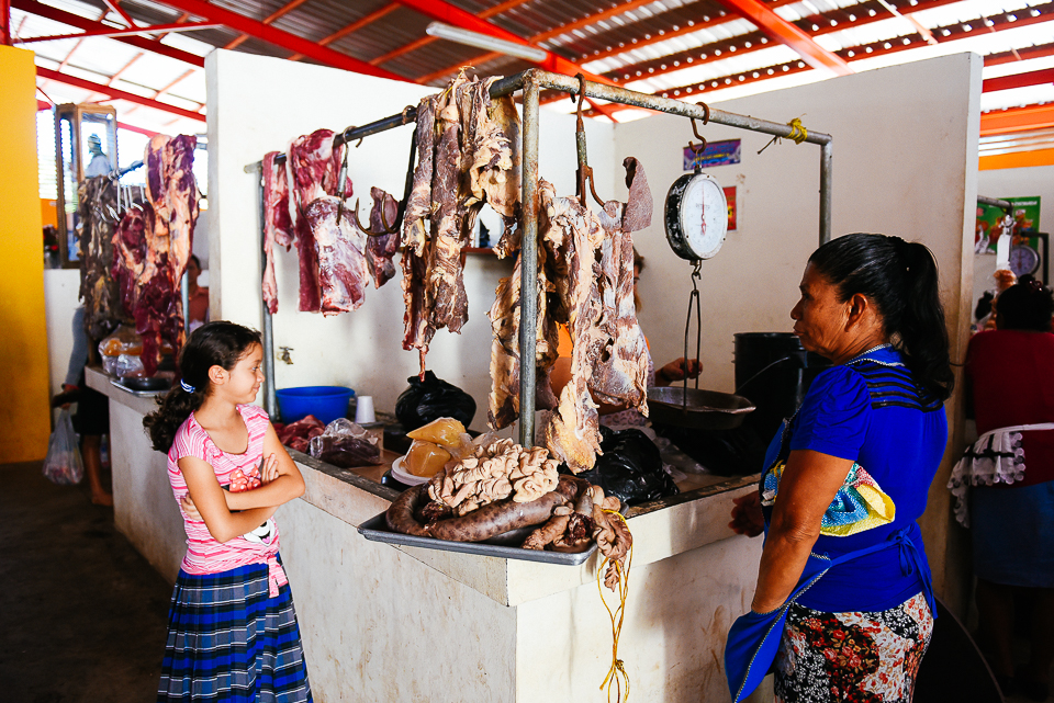 Meat in the local market in Nahuizalco.