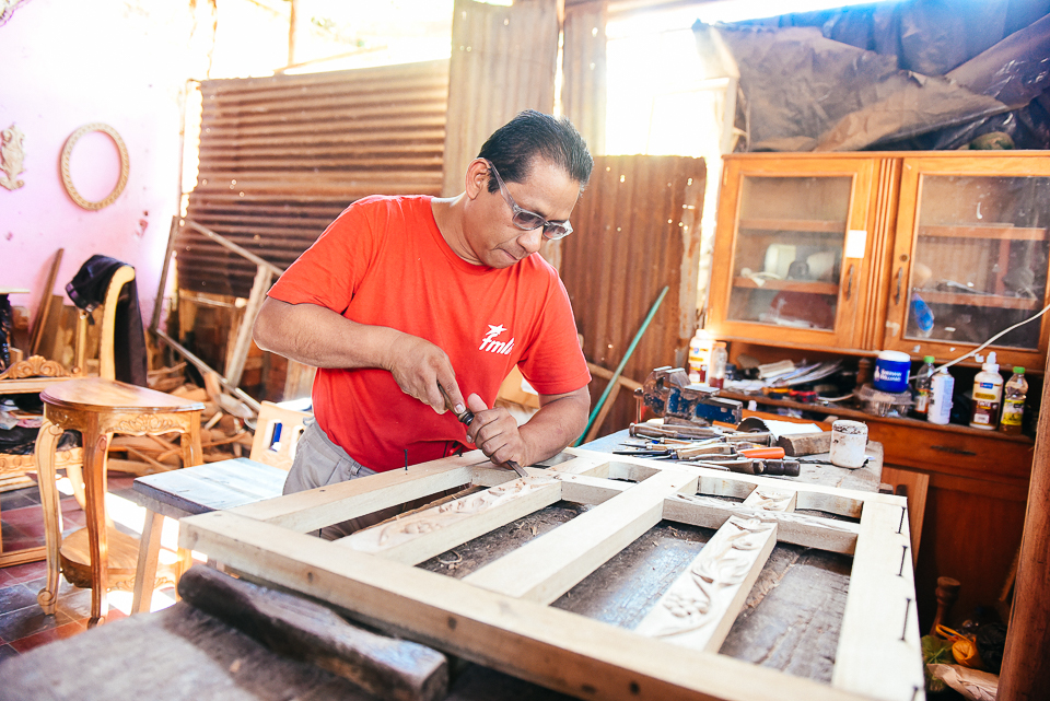 Woodworker Miguel Cortez in his shop in Nahuizalco.