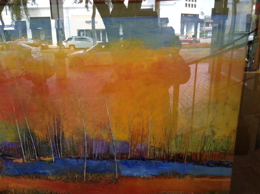 Reflections of me and El Paseo Drive in this colorful abstract landscape by Tracy Lynn Pristas at the Filsinger Gallery in Palm Desert
