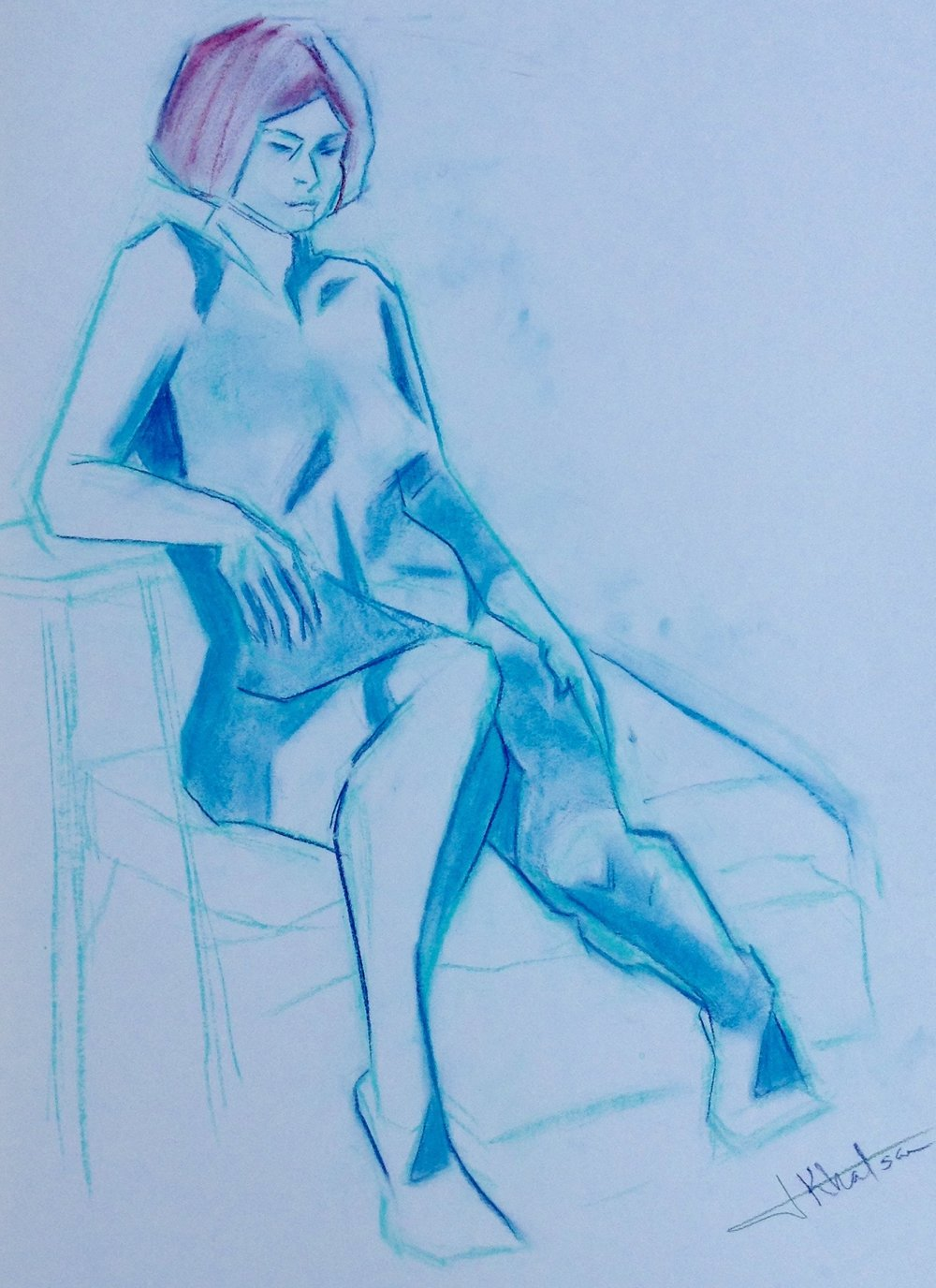 Figure Sketch in conte pastel