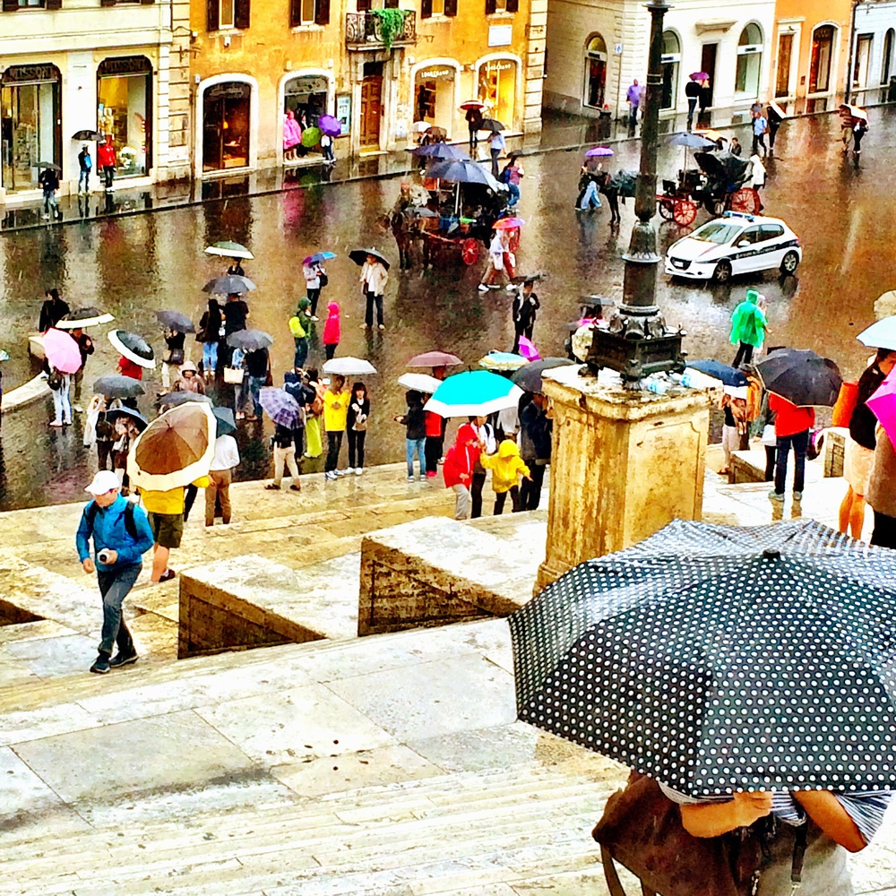 Rain on the Spanish Steps in Rome
