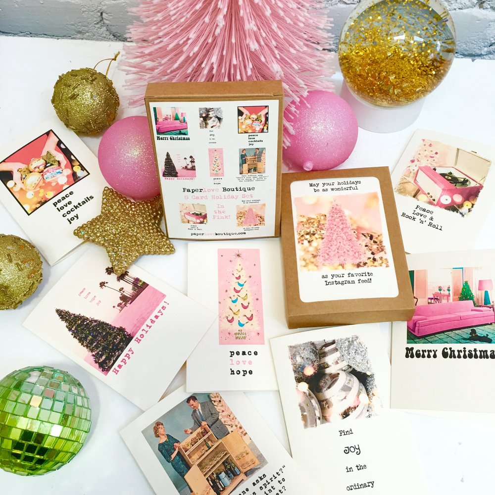 'In the Pink' Holiday box set of 8 cards