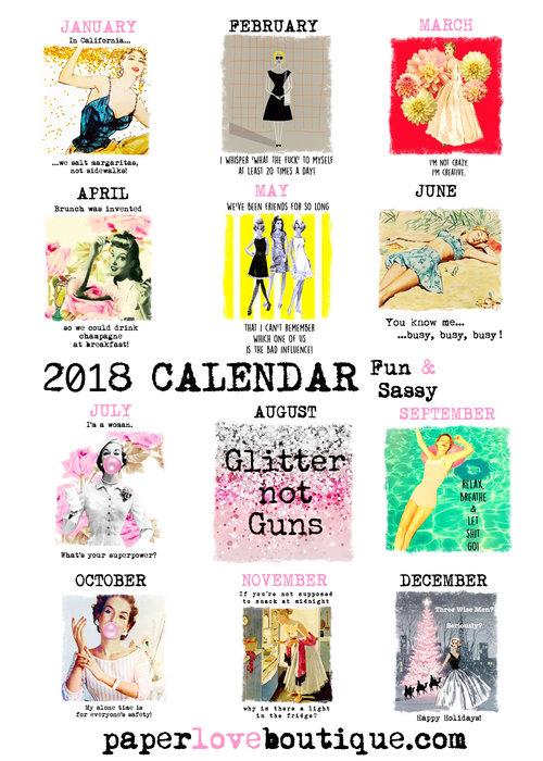 2018 'Fun & Sassy' Calendar #2hang it, frame it, pin it, reuse
