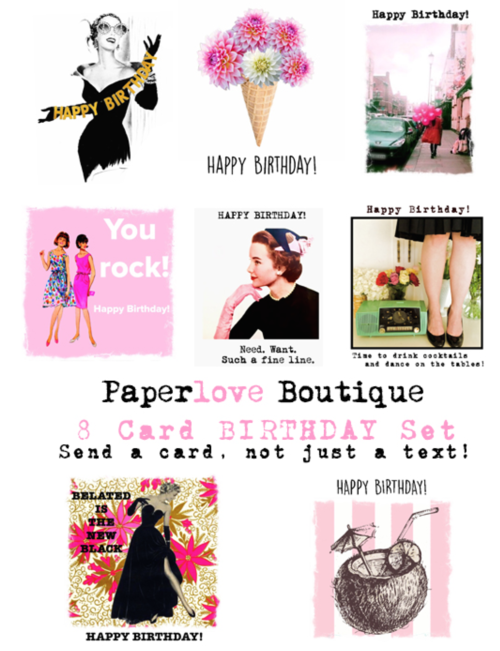 Set Of 8 Birthday Cards 6 Youre Never Caught Empty Handed